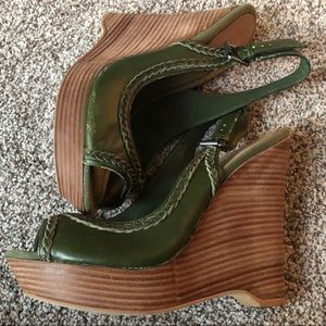 True Religion Green Leather Wedges Size 10